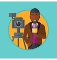TV reporter with microphone and camera vector image