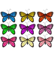 Butterflies in different colors vector image vector image