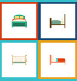 flat bedroom set of furniture cot bed and other vector image