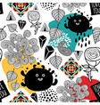 Endless pattern with cute monsters and abstract vector image