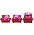 Red chairs with pink monsters vector image vector image