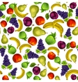 Seamless mixed fruits pattern background vector image