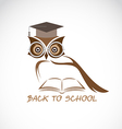 image of an owl glasses with college hat vector image