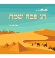 happy and kosher Passover in Hebrew Jewish vector image