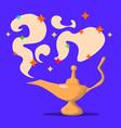 lamp aladdin with gin the magic lamp of aladdin vector image