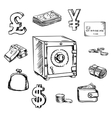 Money currency and finance sketch icons vector image
