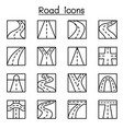 road icon set in thin line style vector image