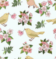 Seamless pattern birds and flowers vector image