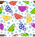 seamless pattern with colorful cups vector image