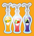 three bottles with dispensers with different vector image