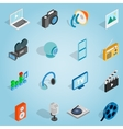 Media set icons isometric 3d style vector image