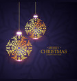 stylish christmas festival greeting with golden vector image