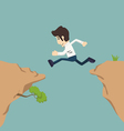 Businessman jumping over gap vector image