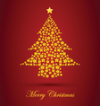 Gold Christmas Tree With Red Background vector image