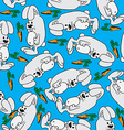 rabbit and carrot pattern vector image vector image
