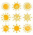 Set of drawn sun symbols vector image