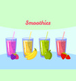 cartoon smoothies berry banana apple and vector image