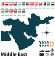 Political map of Middle East vector image