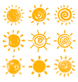 Set of drawn sun symbols vector image