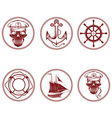 set of vintage labels with boat captain skull vector image