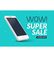 Super sale phone banner Mobile clearance sale vector image