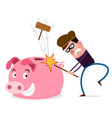 breaking piggy bank vector image vector image