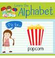 Flashcard letter P is for popcorn vector image