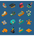 Money Manufacturing Isometric Icons vector image