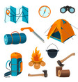 set of accessories for camping rest and hiking vector image