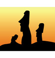 Easter Island statues vector image vector image