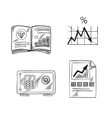 Finance investment and banking sketch icons vector image