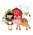 Girl and Cow vector image vector image