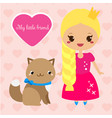 cute princess with cat pet girl in long pink vector image