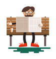 man reading newspapers on bench with coffee in vector image