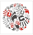 Mixed handprints and footprints - vector image