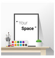 poster mock up with empty frame and art supplies vector image