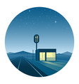 Road diner at night round icon vector image