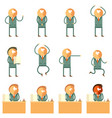 set of flat human business icons vector image