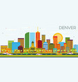 denver skyline with color buildings and blue sky vector image