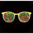 Glasses with colorful flowers on black background vector image vector image
