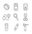 Line Icons Medical Basic Device Icon Set vector image