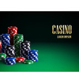 casino chips isolated on green background vector image