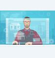architect builder man working using virtual media vector image