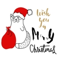 Cat in Christmas hat with a red bag Holiday vector image
