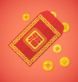 flat style chinese new year red envelope with vector image