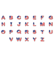 Letters of the alphabet with the American flag vector image