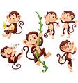 Little monkeys doing different things vector image