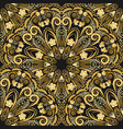 ornate seamless pattern of golden mandala on black vector image