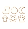 Set 5 of Christmas and New year gingerbread with vector image