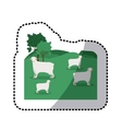 sticker of landscape with sheep and trees vector image